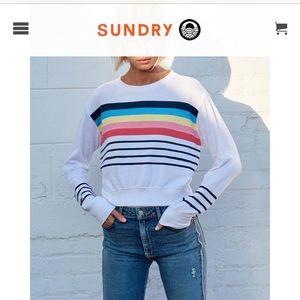 🌈 Rainbow Stripes Crop Sweatshirt 🌈